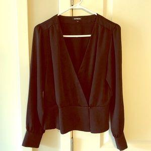 Express black wrap blouse